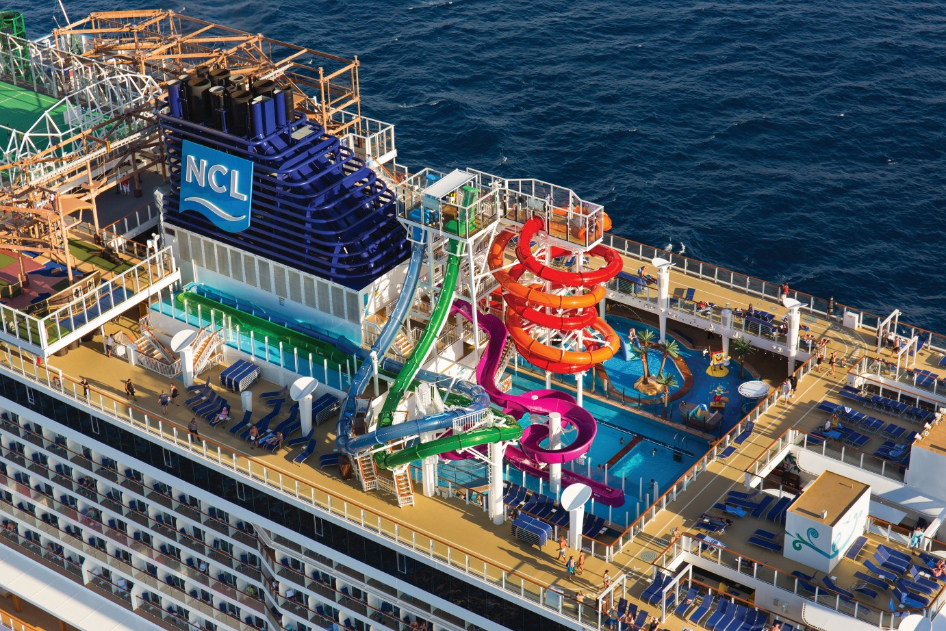 Norwegian Getaway cruise ship aerial view of top deck