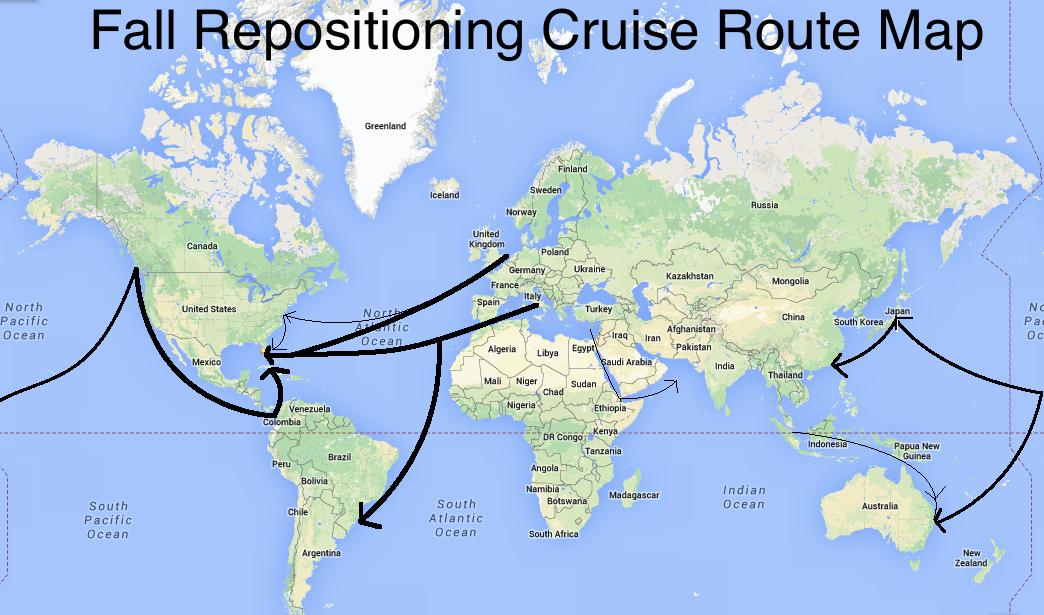 repositioning cruises map