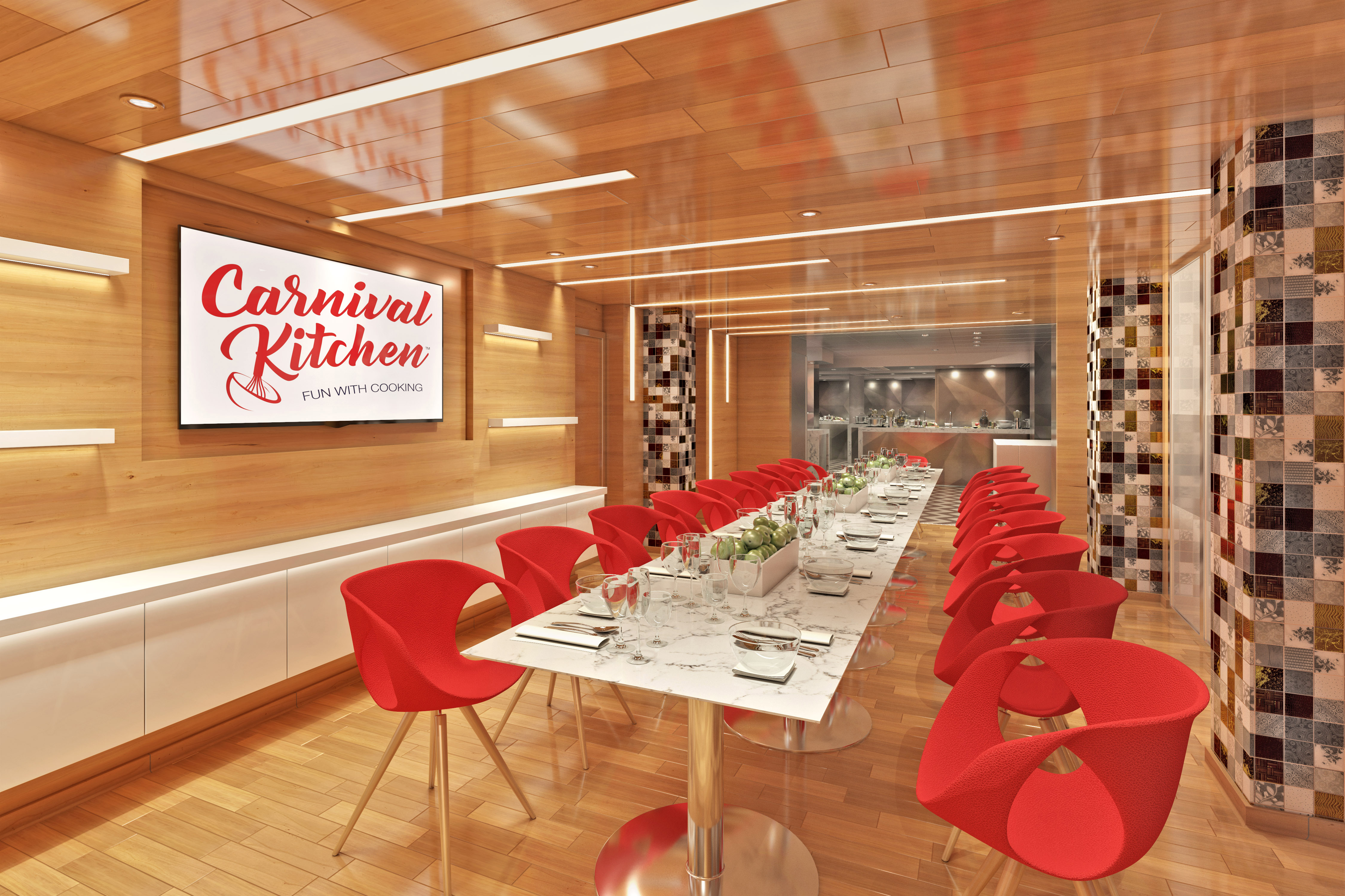 Carnival Panorama Culinary Centre dining tables