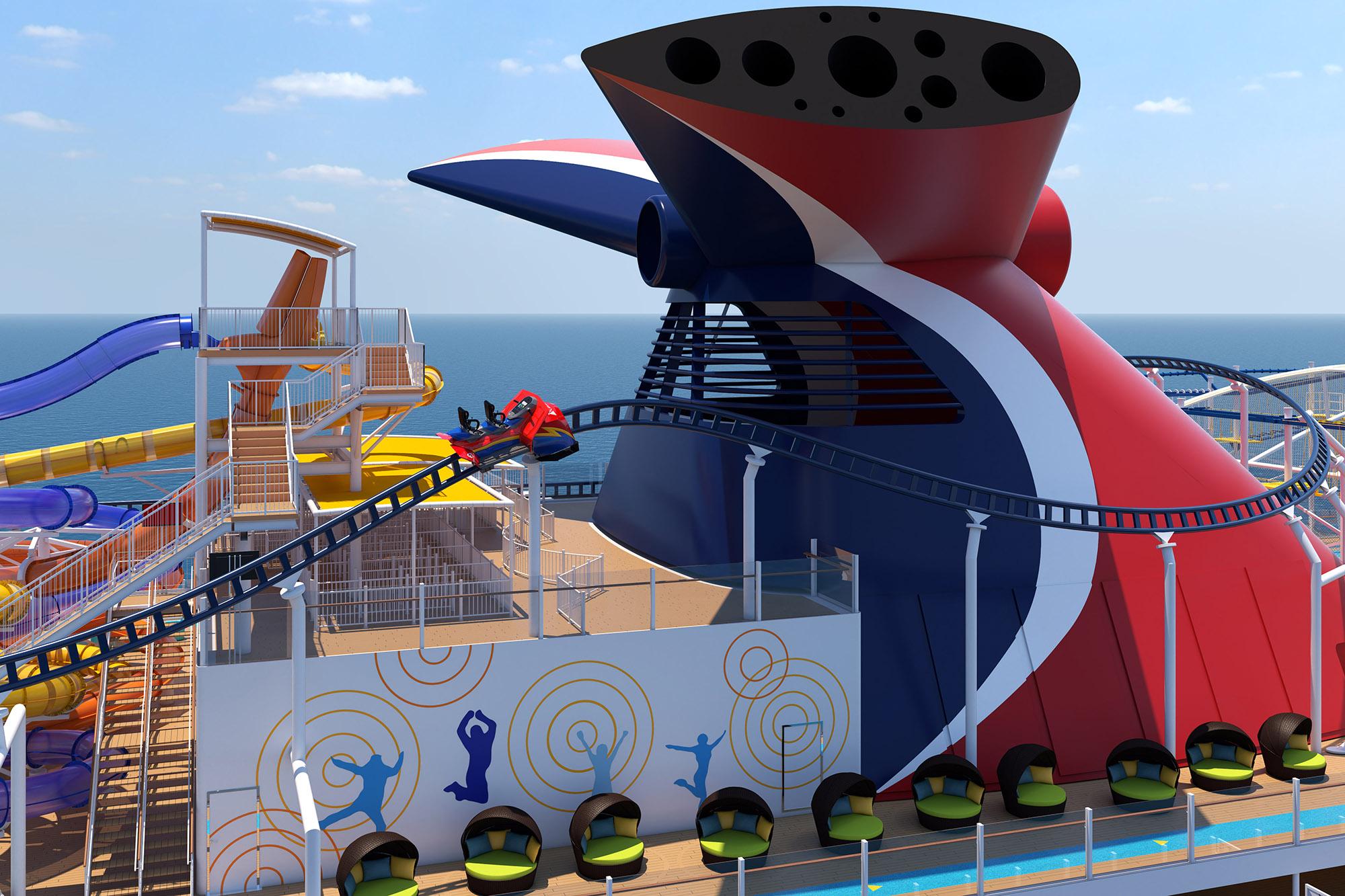 Carnival Cruises Mardi Gras Bolt roller coaster