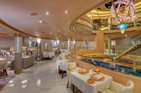 Holland America Noordam restaurant with white marble floor