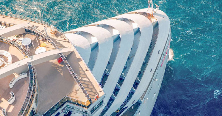 Virgin Voyages Scarlet Lady cruise ship bow
